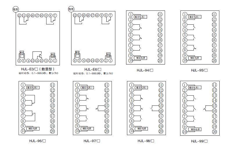 (2). 工作频率:50HZ正弦波。 (3). 动作特性: a.瞬时动作: HJY-Q932过电压继电器,当任何一路(或二路、或三路)输入电压高于拨盘整定值,三个输出中间继电器立即都动作。 HJY-F932过电压继电器,当任何一路输入电压高于拨盘整定值,仅对应中间继电器立即动作。 HJY-Q931/J静态动作特性的欠电压继电器,当任何一路(或二路、或三路)输入电压低于拨盘整定值,三个输出中间继电器立即都动作。 HJY-F931/J静态动作特性的欠电压继电器,当任何一路输入电压低于拨盘整定值,仅对应中